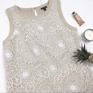 Ann Taylor Lace Overlay Beige Tank
